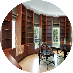 Our cabinet design services include built-in bookcases, entertainment systems, and home office cabinetry. Call us today for a free consultation.