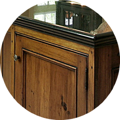 We complete our cabinets with artisan finishes including stain, paint, distressed, glaze, high gloss  and low sheen.